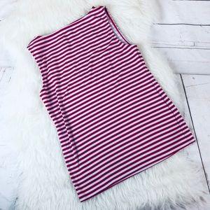 Ann Taylor Striped Red White Blouse